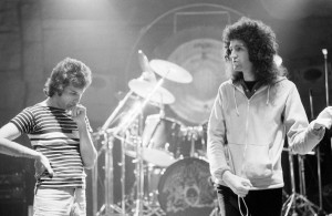 Queen in rehearsal at Shepperton Film studios as they prepared for their forthcoming tour of the US. Left Freddie Mercury and strumming without guitar (right) his Queen band mate Brian May.